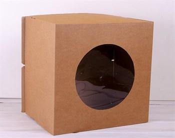 Коробка для торта от 1 до 8 кг, 40х40х29 см, с прозрачным окошком, d= 15-39 см, крафт - фото 7589