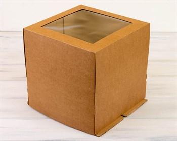 Коробка для торта от 1 до 5 кг, 30х30х30 см, с прозрачным окошком, d= 15-29 см, крафт - фото 7596