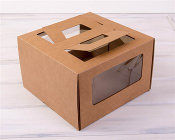 Коробка для торта от 1 до 3 кг, 30х30х19 см,  с ручками и прозрачным окошком, крафт - фото 7606