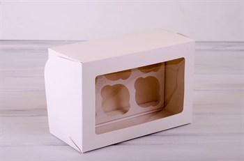 Коробка для капкейков/маффинов на 6 шт, 25х16х11, с прозрачным окошком, белая - фото 7627