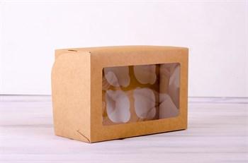 Коробка для капкейков/маффинов на 6 шт, 25х16х11, с прозрачным окошком, крафт - фото 7629