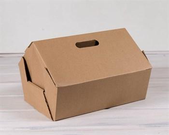 Коробка картонная 31х21х26х11 см в форме домика с ручками, крафт - фото 7701