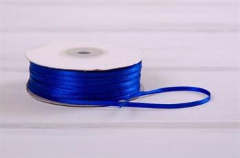 Лента атласная, 3 мм, синяя, 1 м - фото 7743