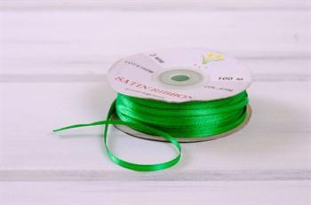 Лента атласная, 3 мм, зеленая, 1 м - фото 7754