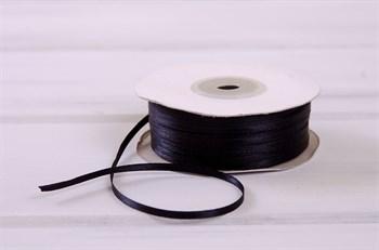 Лента атласная, 3 мм, черная, 1 м - фото 7758