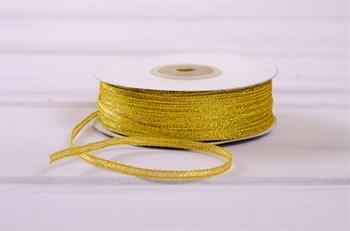 Лента металлизированная, 3 мм, золотая, 1 м - фото 7759