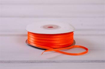 Лента атласная, 3 мм, оранжевая, 91 м - фото 7765