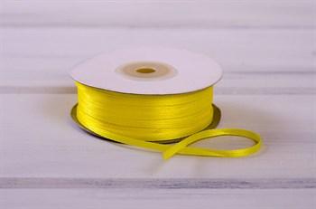 Лента атласная, 3 мм, светло-желтая, 91 м - фото 7768