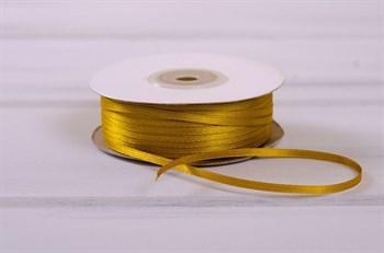 Лента атласная, 3 мм, золотая, 91 м - фото 7775