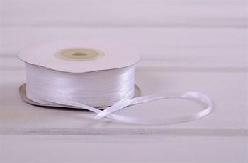 Лента атласная, 3 мм, белая, 91 м - фото 7776