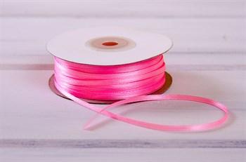 Лента атласная, 3 мм, розовая, 91 м - фото 7778