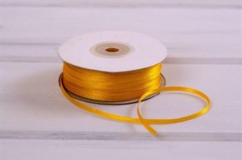 Лента атласная, 3 мм, темно-желтая, 91 м - фото 7779