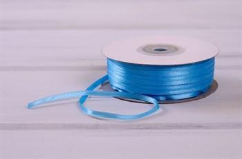 Лента атласная, 3 мм, голубая, 91 м - фото 7781