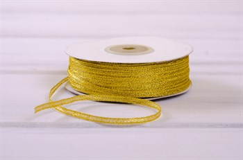 Лента металлизированная, 3 мм, золотая, 91 м - фото 7785
