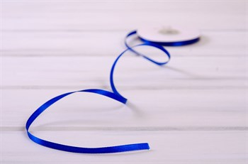 Лента атласная, 6 мм, синяя, 1 м - фото 7874