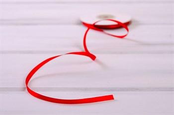 Лента атласная, 6 мм, красная, 27 м - фото 7884