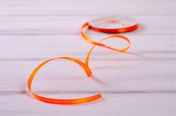 Лента атласная, 6 мм, оранжевая, 27 м - фото 7890
