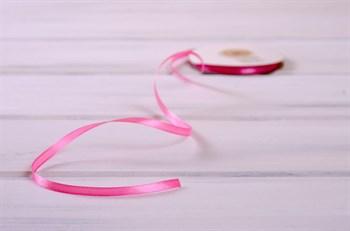 Лента атласная, 6 мм, розовая, 27 м - фото 7902