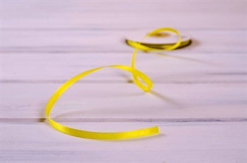 Лента атласная, 6 мм, светло-желтая, 27 м - фото 7908