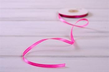 Лента атласная, 6 мм, насыщенно-розовая, 1 м - фото 7911