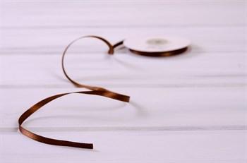 Лента атласная, 6 мм, темно-коричневая, 27 м - фото 7914