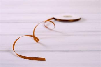 Лента атласная, 6 мм, светло-коричневая, 27 м - фото 7920