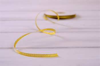 Лента металлизированная, 6 мм, золотая,  27 м - фото 7928