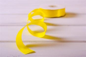 Лента атласная, 24 мм, желтая, 1 м - фото 7929