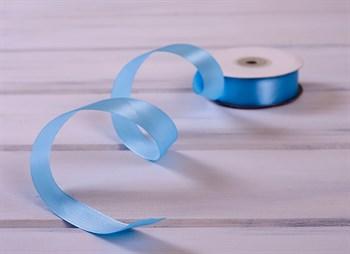Лента атласная, 24 мм, голубая, 1 м - фото 7943