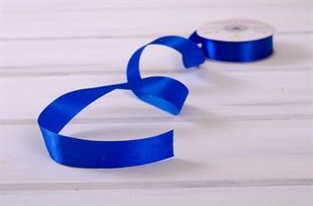 Лента атласная, 24 мм, синяя, 1 м - фото 7947