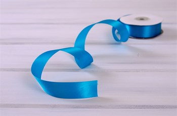 Лента атласная, 24 мм, голубая лагуна, 1 м - фото 7955