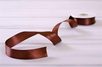 Лента атласная, 24 мм, темно-коричневая, 1 м - фото 7957