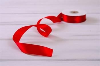Лента атласная, 24 мм, красная, 27 м - фото 7964