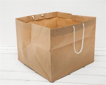 Крафт пакет бумажный, 36х36х29см, с широким дном и ручками, коричневый - фото 8044