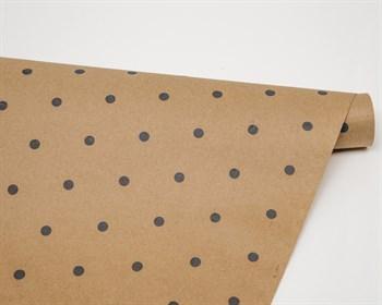 Бумага упаковочная, в черный горошек, 70см х 10м, крафт, 1 рулон - фото 8079