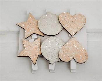 Набор украшений на прищепках Сердца и звезды, 6 шт - фото 8153