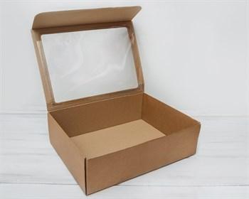 УЦЕНКА Коробка с прозрачным окошком 40х30х12, крафт - фото 8255