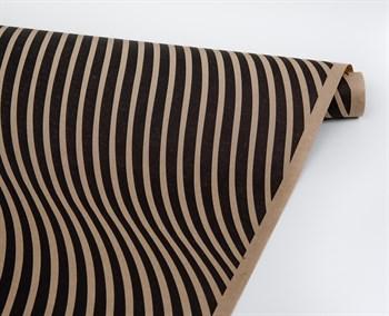 Бумага упаковочная, волна черная, 70см х 10м, крафт, 1 рулон - фото 8325
