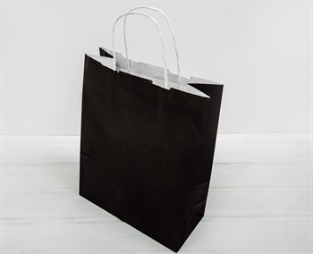 Крафт пакет бумажный, 32х25х11 см, черный - фото 8327