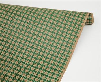 Бумага упаковочная, 70 гр/м2, клетка зелёная, 72см х 10м, 1 рулон - фото 8417