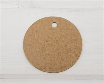 Бирка картонная, круглая, d=6 см, крафт - фото 8477