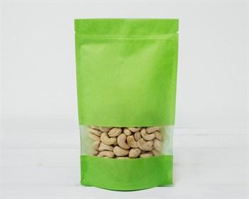 Пакет Дой-пак с zip-lock и окошком бумажный, 22,5х13,5х3,5 см, окно 4 см, зеленый - фото 8511