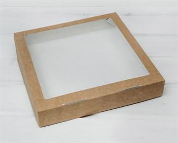 Коробка для выпечки и пирожных, 25,3х25,3х4,3 см, с прозрачным окошком,  крафт - фото 8527