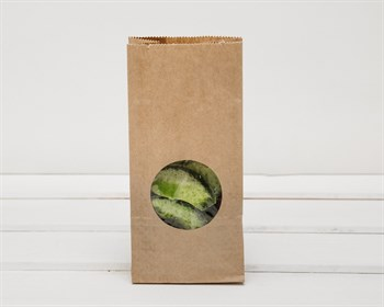 УЦЕНКА Крафт пакет бумажный с окошком 25х12х8, коричневый - фото 8568