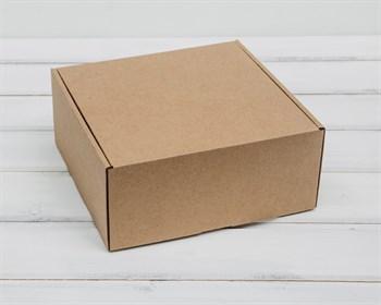Коробка для посылок, 20,5х20,5х9,5 см, из плотного картона, крафт - фото 8592