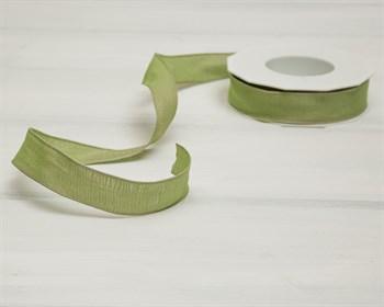 Лента с проволочным краем 25 мм, светло-зеленая, 1 м - фото 8658