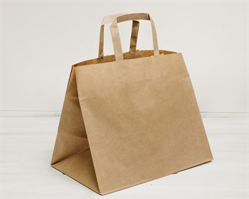 Крафт пакет бумажный, 26х32х20 см, с плоскими ручками, коричневый - фото 8685