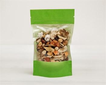 Пакет Дой-пак с zip-lock и окошком бумажный, 18,5х12х3,5 см, окно 10,5 см , зеленый - фото 8694