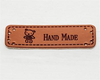 Нашивка «Hand made» мишка, 5х1,5 см, 1 шт. - фото 8719