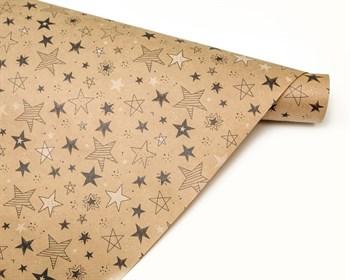 Бумага упаковочная, 50х70 см,«Звезды», крафт, 1 лист - фото 8759